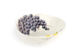 EW42-14 organische schaal met witte en blauwe druiven 14cm