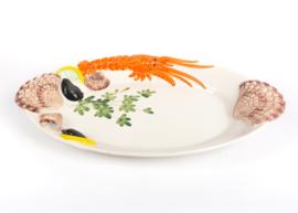 model Ovale visschaal shelpen en kreeft 45 x 27 cm
