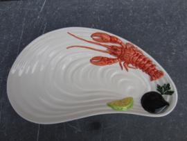 model Platte schaal/bord met schelpen en kreeft ( klein )