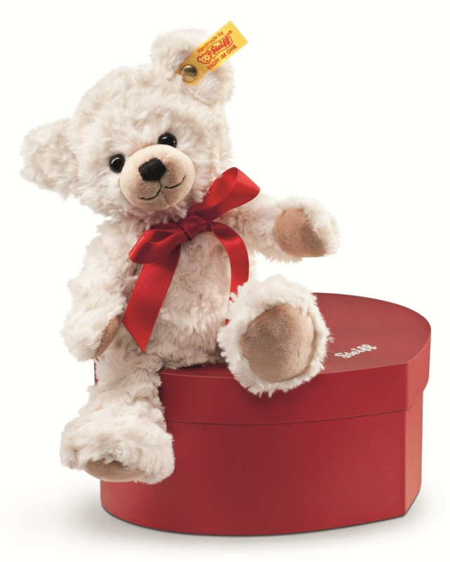 109904 Sweetheart Teddybeer in een hartendoos crème 22cm