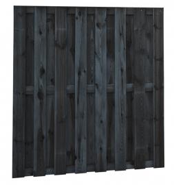 15-planks Grenen scherm 180 x 180 cm Zwart geïmpregneerd