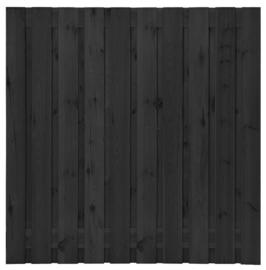 21-planks Grenen scherm 180 x 180 cm Zwart geïmpregneerd