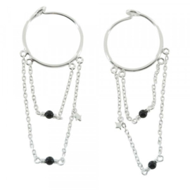 BETTY BOGAERS double hoop chain & black onyx earrings