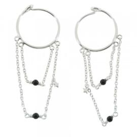 BETTY BOGAERS double hoop chain & black onyx earrings