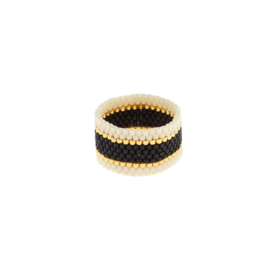 SIDAI DESIGNS ring/black-gold-ivory