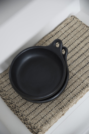 BLACK POTTERY plate with handle