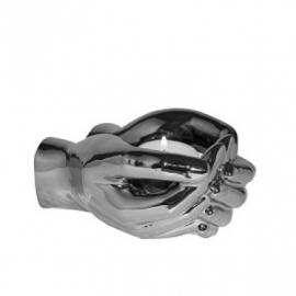 Peri Glass Candleholder Hand Silver