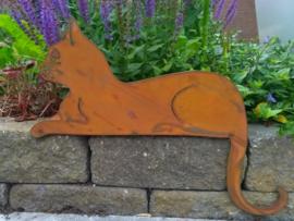 Tom de liggende kat op plaat roestijzer
