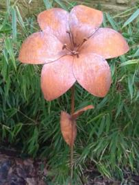 Tuinsteker roestijzer Lelie klein 3d