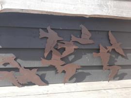 Set van 3 Vogelzwermen wand ( bruin coating)
