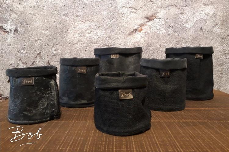 Bob mixed pots /rubber/jute 17 cm black
