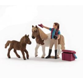 paardenverzorgster met shetland 42362 *