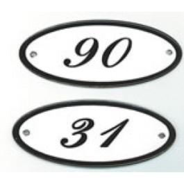 Emaille huisnummer ovaal 10x5cm