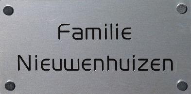 Aluminium naamplaatjes diverse afmetingen