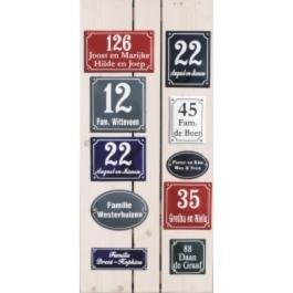 Emaille naamborden met nummer en namen
