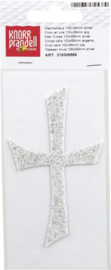 Wax kruis 100 x 55 mm zilver