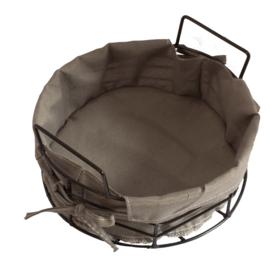 IJzeren mand met stof rond 23 cm