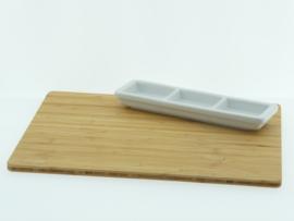 Bamboeplank rechthoek incl. wit schaaltje