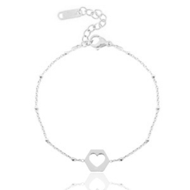 Roestvrij stalen (RVS) Stainless steel armbanden jasseron cut out heart