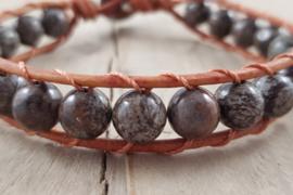 Wikkelarmband - Brown Snowflake jasper - Bruin