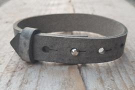 Leren armband - Graphiet grijs