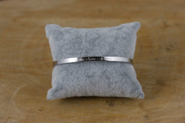Quote armband 'Smile ♥ Love ♥ Dream' zilver
