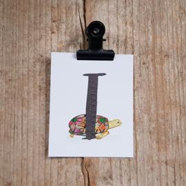 I van Indische sterschildpad - Letterkaartje