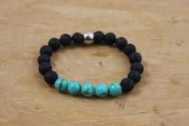 Lava stenen armband met turquoise kralen