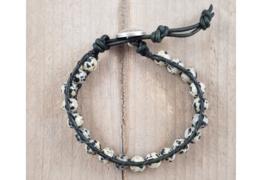 Wikkelarmband - Dalmatier jasper - Donker groen