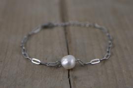Roestvrij stalen (RVS) Stainless steel armbanden pearl Zilver