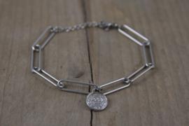 Roestvrij stalen (RVS) Stainless steel armbanden coin Zilver