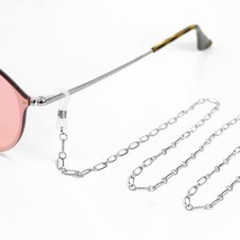 Zonnebrilkoord - zilver kleine schakel