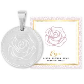 STAINLESS STEEL BEDEL BIRTH FLOWER JUNI ROSE ROND 15MM ZILVER