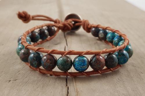 Wikkelarmband - Blue Lace Agaat - Bruin