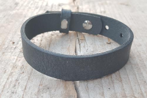 Leren armband - Antraciet zwart