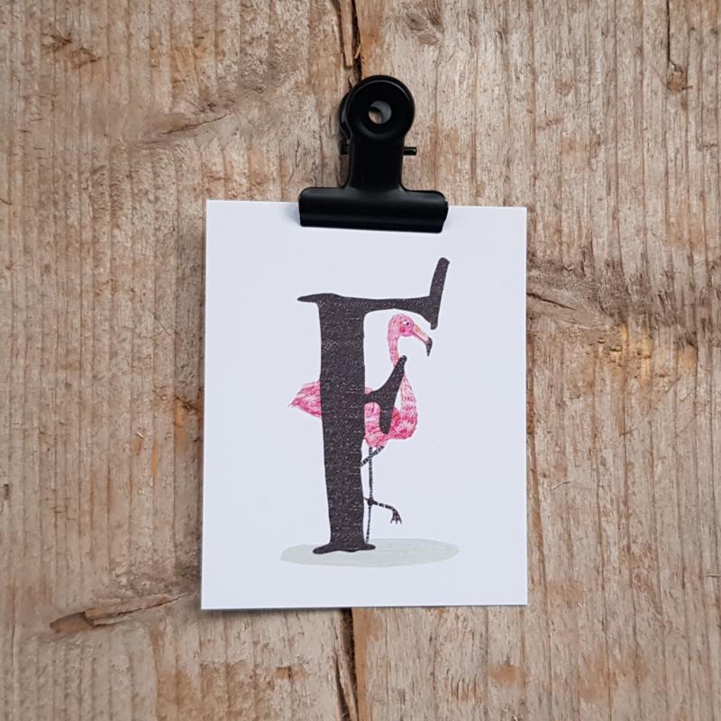 F van Flamingo - Letterkaartje