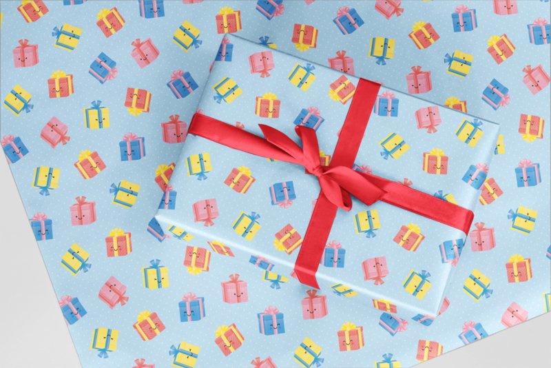 CADEAUPAPIER   Cadeautjes met blauwe achtergrond