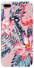 Flamingo bloemen hoesje iPhone 8 Plus softcase