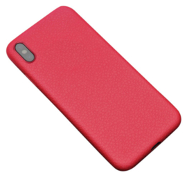 Rood leer hoesje iPhone X softcase