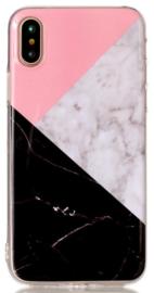Zwart roze marmer hoesje iPhone Xs softcase