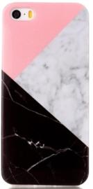 Zwart roze marmer hoesje iPhone 8 Plus softcase