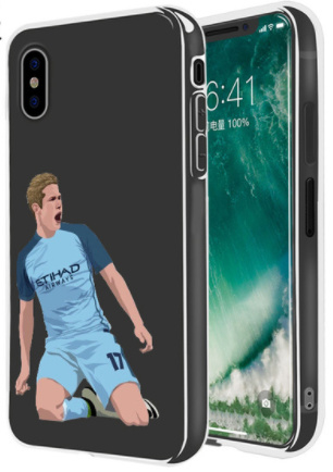 Kevin de Bruyne voetbal hoesje iPhone X softcase