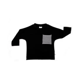 Black Longsleeve + striped pocket