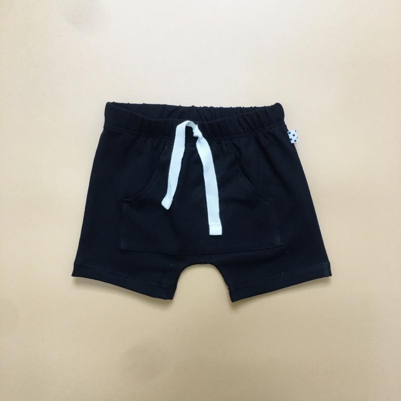 Black Front Pocket Harem Shorts