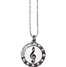 Ketting met vioolsleutel in cirkel