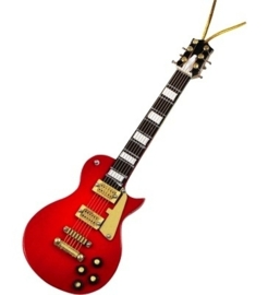 Kerstversiering LP elektrische gitaar (rood) 12 cm