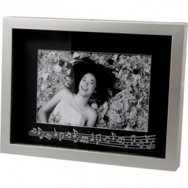 Zwart en zilveren fotolijstje met notenbalk