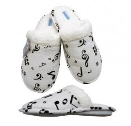Flanellen pantoffels met muzieknoten