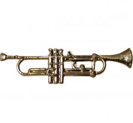 Speldje trompet verguld