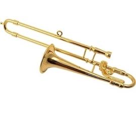 Kerstversiering trombone (verguld) 11 cm